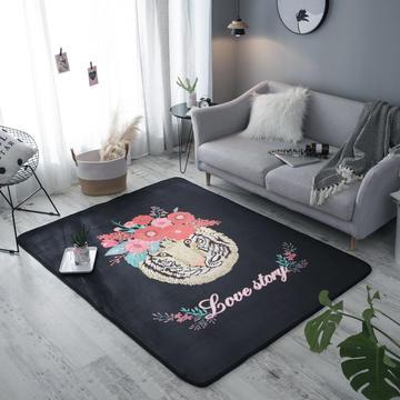奕晨 潮牌地毯卧室地垫客厅茶几水晶绒面大版花垫子老虎黑