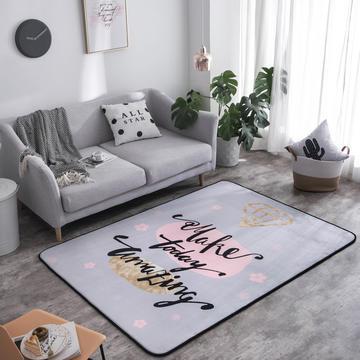 奕晨 潮牌地毯卧室地垫客厅茶几水晶绒面大版花垫子烫金钻石