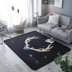 奕晨 潮牌地毯卧室地垫客厅茶几水晶绒面大版花垫子金鹿角 145x195cm 金鹿角