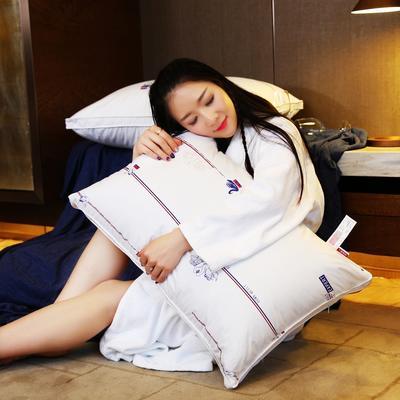 全棉英伦风贡缎印花护颈立体枕芯安睡助眠枕头 白鹅印花