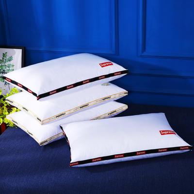 原创全棉织带烫染酒店枕芯可水洗护颈舒适枕头单人枕 红色经典