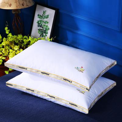 原创全棉织带烫染酒店枕芯可水洗护颈舒适枕头单人枕 爱情鸟
