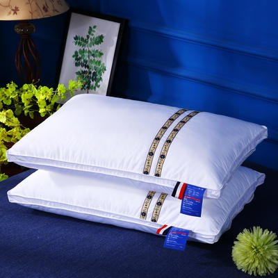 原创全棉民族风刺绣织带可水洗护颈安睡枕芯清新枕头 格调咖