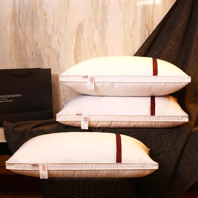 全棉防羽布英伦织带可水洗护颈安睡枕芯简约枕头 全棉经典织带枕