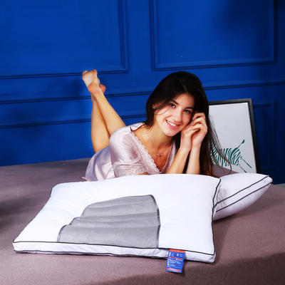 全棉决明子灰网面透气护颈保健枕芯助眠枕头(两色) 城市灰