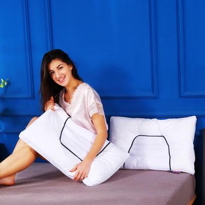 全棉决明子灰网面透气护颈保健枕芯助眠枕头(两色) 皎洁白