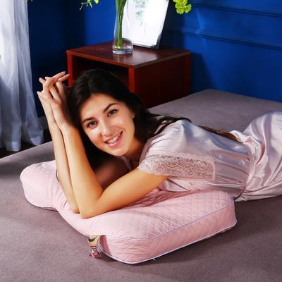 首发全棉绗缝小米壳枕头全小米壳枕芯护颈枕单人硬枕 粉色