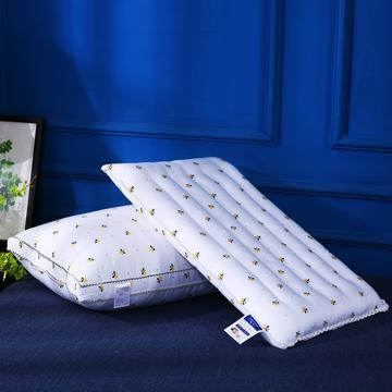 全棉贡缎小蜜蜂羽丝绒可水洗护颈枕芯简约枕头(两款)