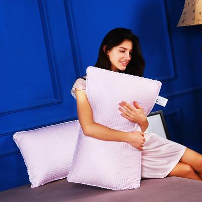 枕头枕芯天丝绗缝热熔棉护颈立体枕芯整张羽丝绒枕头(两色) 浪漫粉