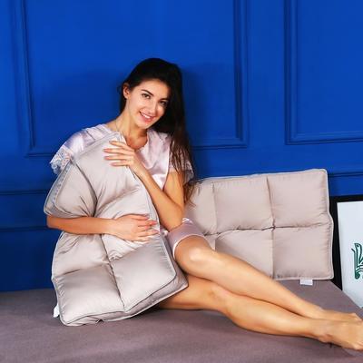 枕头枕芯全棉贡缎六宫格护颈立体枕芯安睡羽丝绒枕头(两色) 格调灰