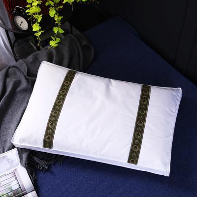 原创全棉全棉花芯刺绣护颈立体枕芯可拆洗枕头(两色) 深咖色织带全棉棉花枕