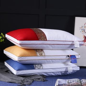 全棉贡缎撞色民族风羽丝绒可水洗枕芯酒店枕头(三色)