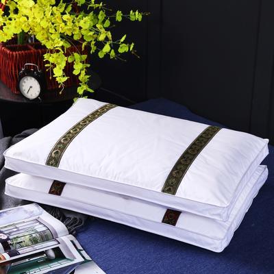 原创全棉全棉花芯刺绣护颈立体枕芯可拆洗枕头(两色) 紫红色织带全棉棉花枕
