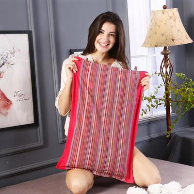 全棉民族风老粗布荞麦枕头全荞麦壳枕芯护颈枕荞麦皮儿童硬枕 玫红