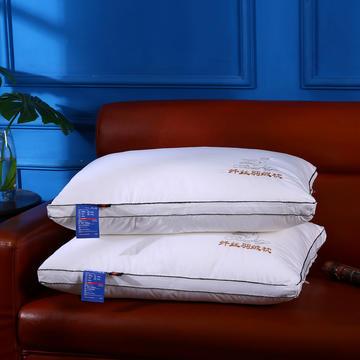 沃兰国际 原创全棉贡缎刺绣护颈立体枕芯安睡助眠枕头(绣鹅)