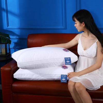 全棉贡缎绗缝刺绣护颈立体枕芯安睡助眠枕头 飞行时间