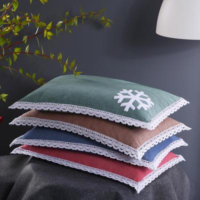沃兰国际 全棉卡通刺绣棉纱荞麦枕头全荞麦壳枕芯儿童枕 卡其四叶草