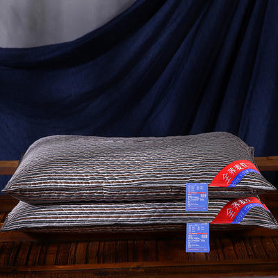全棉绗缝英伦风荞麦枕头全荞麦壳枕芯护颈枕荞麦皮单人硬枕两色 英伦深咖全棉荞麦枕