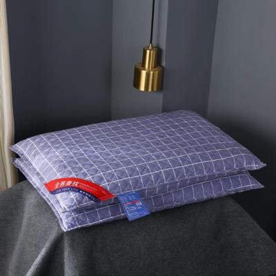 全棉绗缝英伦风荞麦枕头全荞麦壳枕芯护颈枕荞麦皮单人硬枕两色 英伦蓝格全棉荞麦枕