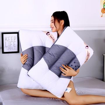 沃兰国际 新款全棉两用网面透气护颈枕芯助眠安睡功能成人枕头