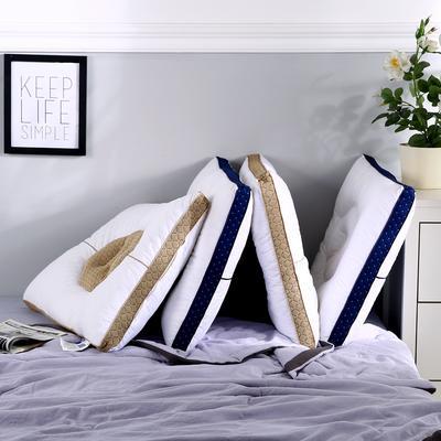 全棉决明子撞色透气安睡按摩枕芯助眠定型成人护耳枕头 海蓝色