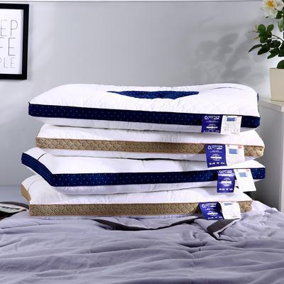 沃兰国际 全棉决明子撞色透气安睡按摩枕芯助眠定型成人护耳枕头 卡其色