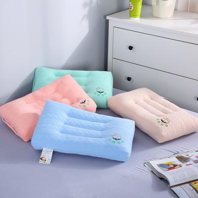沃兰国际 超柔天然彩棉水洗定型儿童枕芯刺绣羽丝绒婴童卡通枕头 卡其色