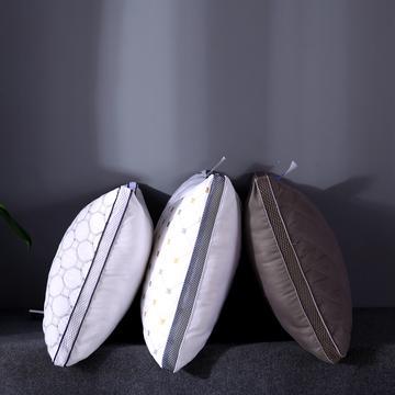 超柔磨毛绗缝羽丝绒枕芯立体透气护颈枕头(爆款热销)