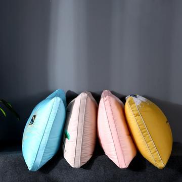 沃兰国际 天丝刺绣炫彩护颈立体枕芯羽丝绒成人单人枕头