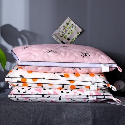 沃兰国际 超柔针织磨毛绗缝羽丝绒枕芯立体透气护颈枕头(爆款) 可爱多