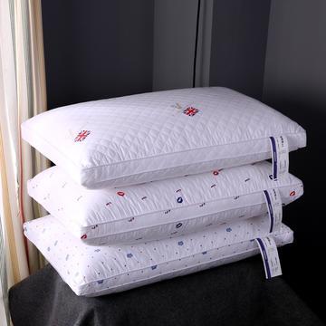 沃兰国际 全棉绗缝印花热熔棉可水洗枕芯护颈整张棉安睡成人枕头