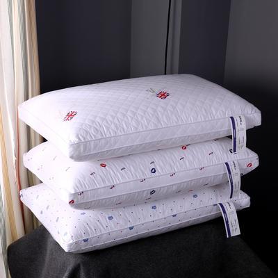全棉绗缝印花热熔棉可水洗枕芯护颈整张棉安睡成人枕头 米字旗
