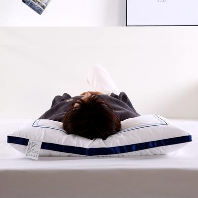 全棉刺绣酒店枕头成人护颈椎枕家用学生单人羽丝绒枕芯 炫冰蓝(低枕800克)