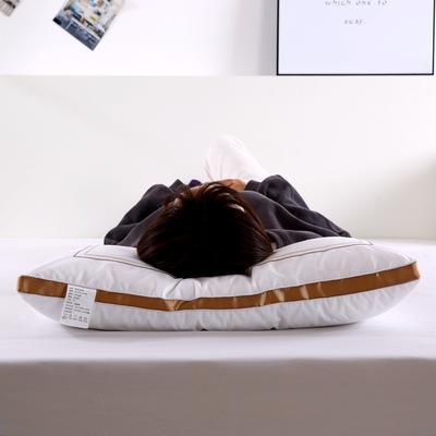沃兰国际 全棉刺绣酒店枕头成人护颈椎枕家用学生单人羽丝绒枕芯 香槟金(低枕800克)