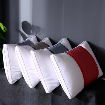 沃兰国际 全棉透气酒店枕头成人护颈椎枕家用撞色单人羽丝绒枕芯