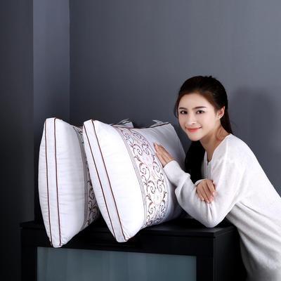 全棉酒店绗缝立体羽丝绒安睡枕芯护颈枕头(三款可选) 刺绣款