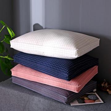 格条风格 全棉水洗棉羽丝绒枕头立体格成人护颈枕芯(四色可选)
