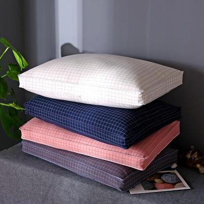 格条风格 全棉水洗棉羽丝绒枕头立体格成人护颈枕芯(四色可选) 白格
