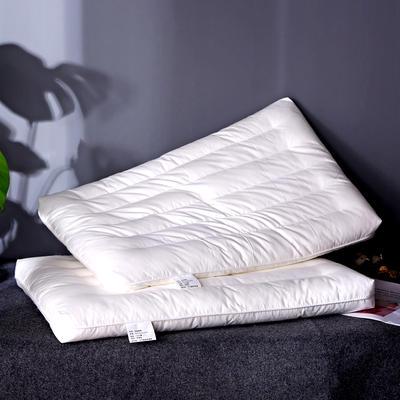 新品发布 全棉贡缎决明子定型绗缝枕头羽丝绒护颈低枕芯单人硬枕 全棉绗缝低枕
