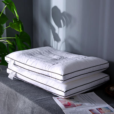 新品首发 全棉贡缎提花决明子木棉护颈枕芯 立体定型酒店硬枕头 全棉决明子木棉枕
