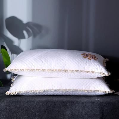 新品首发 全棉贡缎绗缝夹棉酒店羽丝绒枕芯刺绣护颈椎单人软枕 绿色