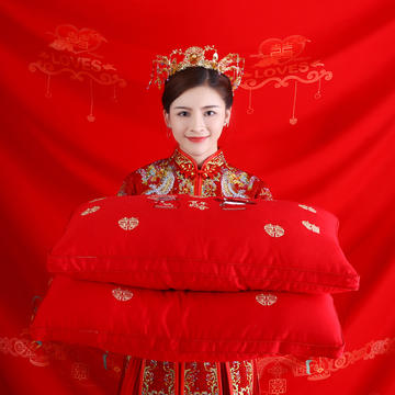 结婚喜庆 全棉贡缎高端婚庆羽丝绒枕芯中国风喜庆结婚单人枕头