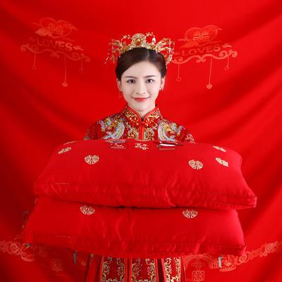 结婚喜庆 全棉贡缎高端婚庆羽丝绒枕芯中国风喜庆结婚单人枕头 百年好合