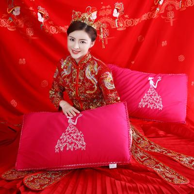 结婚喜庆 全棉贡缎高端婚庆羽丝绒枕芯中国风喜庆结婚单人枕头 爱的女神