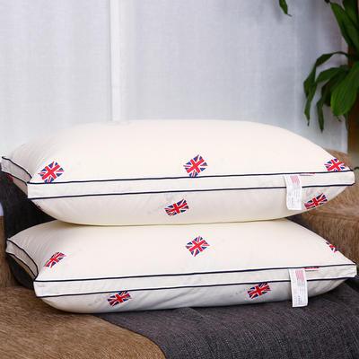 全棉印花酒店贡缎立体高回弹羽丝绒枕芯护颈椎安睡软枕头四色可选 米字旗 米