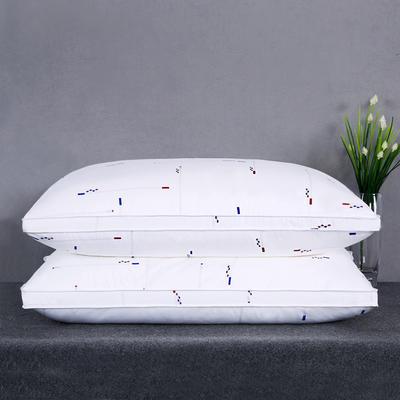 全棉印花酒店贡缎立体高回弹羽丝绒枕芯护颈椎安睡软枕头四色可选 抽象