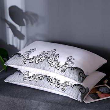 全棉小清新刺绣羽丝绒枕芯韩式护颈椎单人可水洗枕头(三色可选)