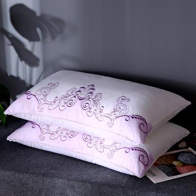全棉小清新刺绣羽丝绒枕芯韩式护颈椎单人可水洗枕头(三色可选) 海浪花 紫