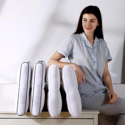 新款首发 全棉绗缝贡缎荞麦壳两用保健功能枕芯单人枕头 纯白款