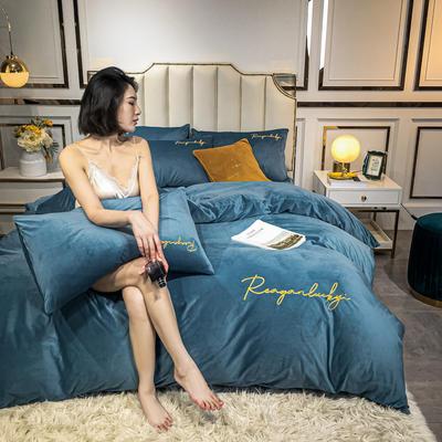 2020新款水晶绒纯色刺绣四件套套件法莱绒 牛奶绒 宝宝绒 水晶绒 1.5m床单款四件套 宾利蓝